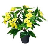 Decovego Fleißiges Lieschen Impatiens Walleriana Künstliche Pflanze Topfpflanze Kunstpflanze 35 cm Gelb Dekoration