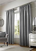 "Plain Chenille Lined Silver 90"" X 72"" - 229cm X 183cm Pencil Pleat Curtains by Curtains"