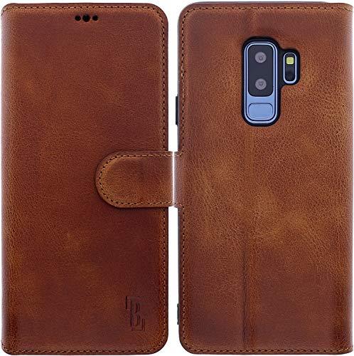 Burkley® Lederhülle passend für Samsung Galaxy S9+ Handyhülle - Handytasche Hülle für das Galaxy S9 Plus mit Kartenfach - Echtes Rindsleder (Sattelbraun)