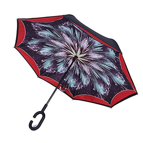 El Estilo Libre Creativo de Capa Doble vástago Largo invertido Paraguas a Prueba de Viento inversa Hombre Paraguas inversa, 9