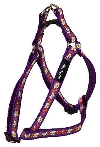 amiplay Regulierbares Hundegeschirr 'Wink' mit Motiven | angenehmer Tragekomfort | Hundebrustgeschirr stufenlos verstellbar | verschiedene Muster & Größen , Farbe:Violett, Größe:M | 30-55 [c . d] x 1.5 cm