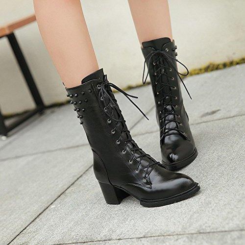 &ZHOU Bottes d'automne et d'hiver Bottes courtes pour femmes adultes Martin bottes bottes Chevalier A4-3 Black