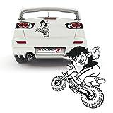 Junge auf Motorrad Aufkleber Auto Design Sticker Boy Crossrad Fahrer | P023