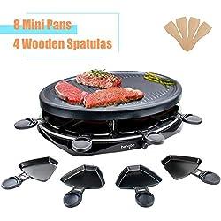 Appareil a Raclette 8 Personnes Plancha Électrique Grill avec 4 Spatules et 8 Poêlons Machine a Raclette Plaque de Cuisson de Table Revêtement Antiadhésif Thermostat Réglable 1300W