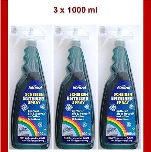 3 x 1000 ml Scheiben Enteiser Spray Scheibenenteiser Auto (1L = 5,33€)