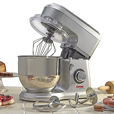 Cooks Professional 800W Electric Kitchen Stand Food Mixer with 5 Litre Stainless Steel Bowl. Three accessories, Two Year Guarantee (Silver)