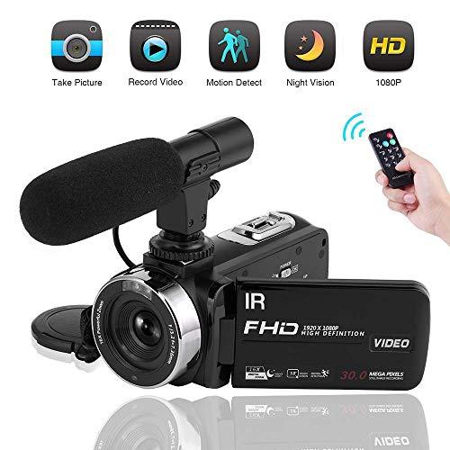 Videokamera mit Mikrofon Camcorder Full HD 1080P Nachtsicht 3.0 inch Touch Screen 16X Camcorder HD für Vlogging (2019 aktualisierte Version) 3 Camcorder