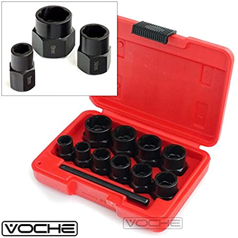Voche® 10 Piece Grip 'n' Twist Socket Set for the removal of Locking Wheel Nuts or Damaged Bolts -