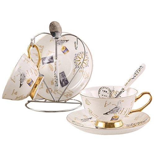 Porzellan Keramik 2 Satz Tee-Tasse Kaffeetasse, Stempel, Möwe, Weiß Und Golden