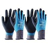 T4U wasserdichte Gartenhandschuhe EN 388 für Männer und Frauen mit Rutschfester Latex-Schutzbeschichtung, Mehrzweck-Arbeitshandschuhe, Größe L 2 Paar