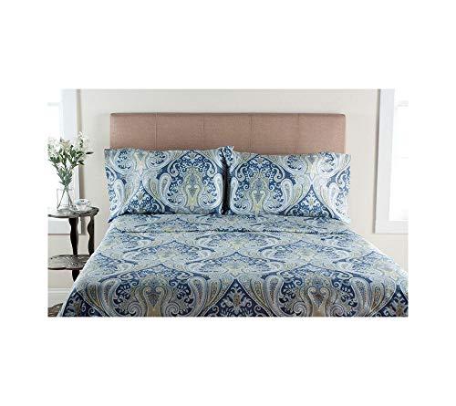Elite Home Produkte Crystal Palace 300-thread Zählen Druckbogen Sets, Baumwolle, blau, Full Sheet Set -