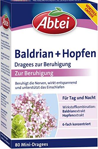 Abtei Baldrian + Hopfen Dragees zur Beruhigung, 80 Kapseln