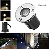 BAODE LED Bodeneinbaustrahler 230V Einbaustrahler Außenleuchte IP67 24 Farbe Gartenbeleuchtung Lamp für Aussen (1W Naturweiß)
