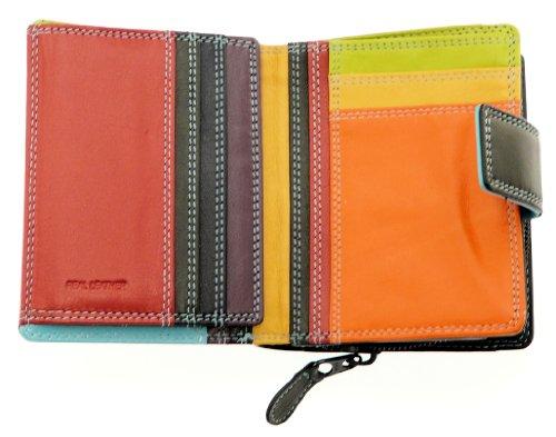 Signore supporto della borsa e una carta di credito portafogli in pelle morbida con cerniera fino portamonete - detiene 8 carte Colore A