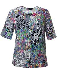 756214b51084e8 Sempre piu Damen Sommer Bluse Ohne Kragen Kurzarm Grau Bunt Große Größen Übergrößen  XXL Elegant
