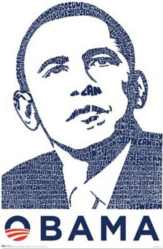 The Poster Corp Barack Obama - Words into Image LA Pop Laminiertes Plakat (60,96 x 91,44 cm)