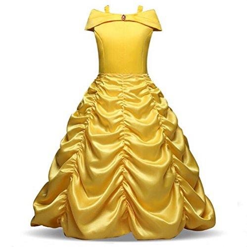 nzessin Belle Kleid schulterfrei Märchen Cosplay Halloween Party Kleider (Deluxe Prinzessin Belle Kostüme)