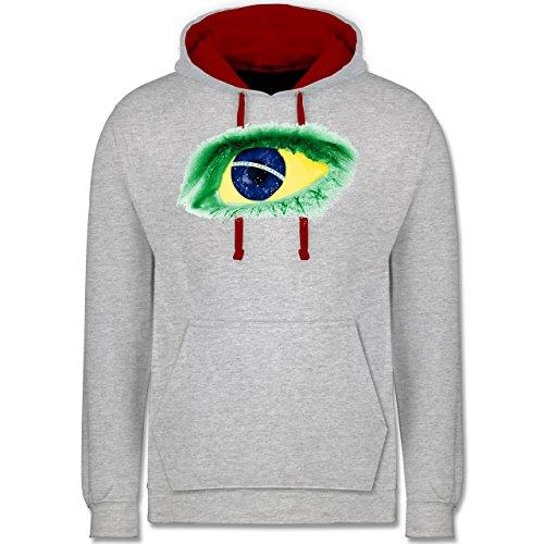 Länder - Auge Bodypaint Brasilien - Kontrast Hoodie Grau Meliert/Rot