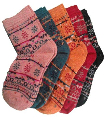 Preisvergleich Produktbild possec Damen Vintage Wolle Socken 5 dicker Farben 5 Stück