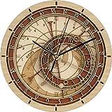 ZJWZ Wanduhr Prag Astronomische Wohnzimmer Schlafzimmer Bambus Holz Wanduhr,XXL