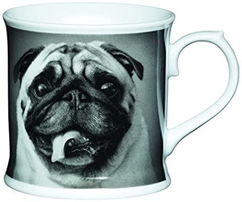 Kitchen Craft 400 ml Porcelain Pug Tankard Shaped Mug, Multi-Colour