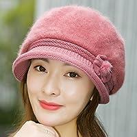 Wenxin0815 Herbst Und Winter'S Lady Gestrickte Kappe Mit Einer Dicke Warme Mütze Und Einem Mittleren Alter Mutter Hat