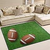 Use7 Teppich, American Football auf Grasfeld, für Wohnzimmer, Schlafzimmer, Textil, Mehrfarbig, 160cm x 122cm(5.3 x 4 feet)