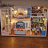 ToDIDAF Wooden Dollhouse 3D Wooden DIY Miniature House Furniture LED House Puzzle Gifts for Kid Birthday Valentine's Day for Bedroom Home Garden Decor - 1 x DIY Wooden House Kit (No Dust Cover)