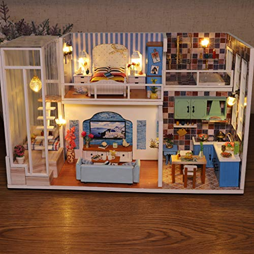 ToDIDAF Wooden Dollhouse 3D Wooden DIY Miniature House Furniture LED House Puzzle Gifts for Kid Birthday Valentine\'s Day for Bedroom Home Garden Decor - 1 x DIY Wooden House Kit (No Dust Cover)