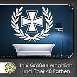 KIWISTAR Eisernes Kreuz mit Lorbeerkranz Wandtattoo in 6 Größen - Wandaufkleber Wall Sticker