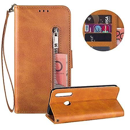 Reißverschluss Brieftasche für Samsung Galaxy A40,Gurt Wallet Handyhülle für Samsung Galaxy A40,Moiky Klassisch Solide Farbe Klappbar Stand Leder Handytasche