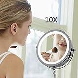 WAOBE LED Edelstahl Eitelkeit Make-up-Spiegel, 10 X Lupe Beleuchtete Make-up Spiegel Kompakt, Schnurlos, 360 Rotation, Tragbare Beleuchtete Badezimmerspiegel