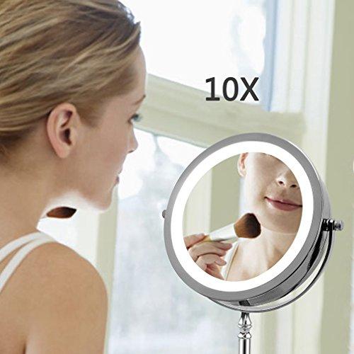 WAOBE LED Edelstahl Eitelkeit Make-Up-Spiegel, 10 X Lupe Beleuchtete Make-Up Spiegel Kompakt, Schnurlos, 360 Rotation, Tragbare Beleuchtete Badezimmerspiegel -