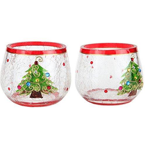 Home-x Weihnachtsbaum Kerzenleuchter. Crackle Glas Kerzenhalter. Set von 2 (Glas Crackle Ornament)