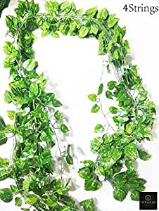 VINTAGEART Natural Look Green Artificial Money Plant Creeper/Vine (Pack of 4 Strings)(7 FEET Each) for Artificial Gardening and Home Decor(Only Money Plant Leaves)