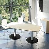 WeberBÜRO Optima Konferenztisch Bootsform 180x100 cm Besprechungstisch Ahorn Tisch Esstisch Küchentisch