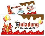 Einladungen für Geburtstage Mädchen Frauen Schokolade Erwachsene lustig jedes Alter möglich, 30 Stück, Größe 21 x 9,9 cm