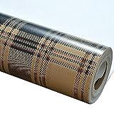 Papier Peint à Carreaux Style écossais Art Vintage Non Tissé Chambre à Coucher Salon Mur,coffee,0.53m*10m