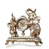 SESO UK Elefant Tischuhr, günstige Uhr Ornamente, Silent Countertop römische Ziffern Nachttisch Uhr
