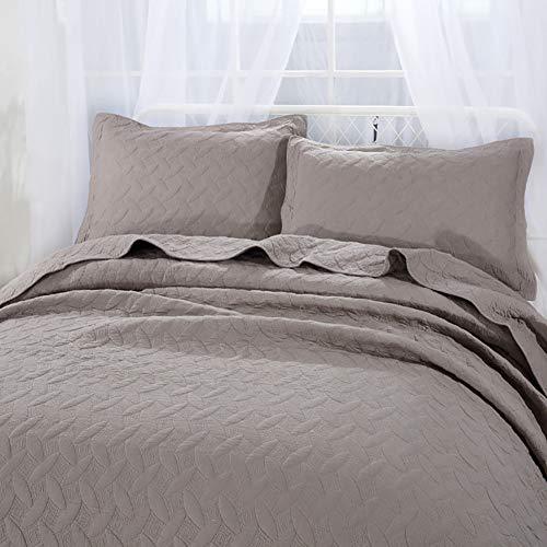 LRQY Amerikanischer Stil Einfarbig Gesteppt Tagesdecken 100% Baumwolle Gestickte Tröster-Set,Mit 2 Kopfkissenbezüge Umschlagstil,Gray,250x270cm(98x106inch) -