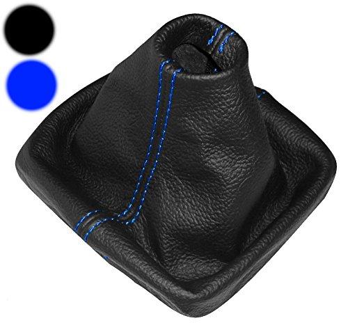 AERZETIX: Cuffia leva di cambio 100% vera pelle nera con cuciture blu