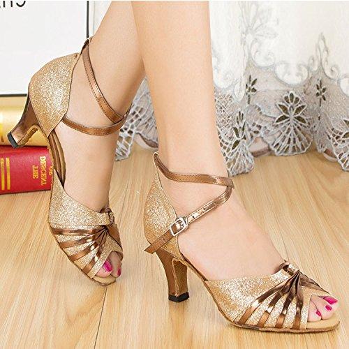Xpy & Dgx Pez Dorado Femenino Verano Boca Baile Zapatos Latinos Cuadrados Zapatos De Baile Con Bajo Atractivo Tacones Zapatos De Baile Nacional Y Europeo Estándar, 250 Mm