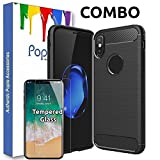 #9: POPIO™ iPhone X Back Cover Case Slim Rugged Shock Proof Bumper Armor Back Cover Case (Combo Black)
