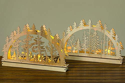 43cm Lichterbogen HOLZ Tannenwald 6965 natur braun grau Schwibbogen LEDs Dekoobjekt Tischdeko Fensterdeko Weihnachten LED-Objekt Weihnachtsdeko Landhaus LED-Bogen