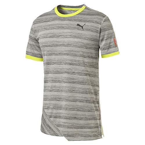 Puma PACE Breeze Herren Running T-Shirt Lt Gry Hthr-Fizzy Yellow L - Running Shirt Gry