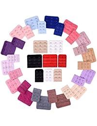 36 Piezas Extensores de Sujetador de Mujeres Extensión de Sostén con Ganchos, 2 Ganchos y 3 Gachos, 18 Colores