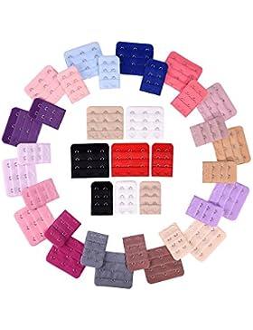 36 Stück Erweiterung der Damenbüstenhalter BraExtender Haken, 2 Haken und 3 Haken, 18 Farben