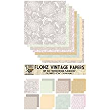 "Paper Pack (24sh 6""x6"") Monochrome Flourishes FLONZ Vintage Paper for Scrapbooking and Craft"