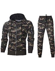 POLP Conjunto Deportivo Sudadera de Camuflaje otoñal de Invierno para Hombre Cremallera Conjunto de pantalón de
