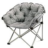 Yuan Yuan Moon Chair Grey - Kreativer fauler Suede Fabric Folding Sun Liegestühle Waschbar Einzel Recliners Schlafsofa Runde Stühle mit Rückenlehne